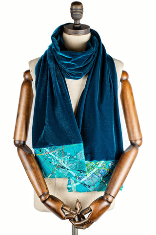Embellished Velvet Scarf in Teal