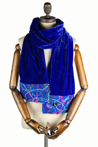 Embellished Velvet Scarf in Lapis Blue