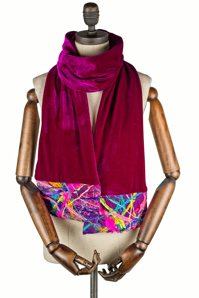 Embellished Velvet Scarf in Pink - Scarf - Megan Crook