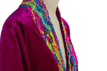 Load image into Gallery viewer, Embellished Velvet Kimono in Magenta - Kimono - Megan Crook