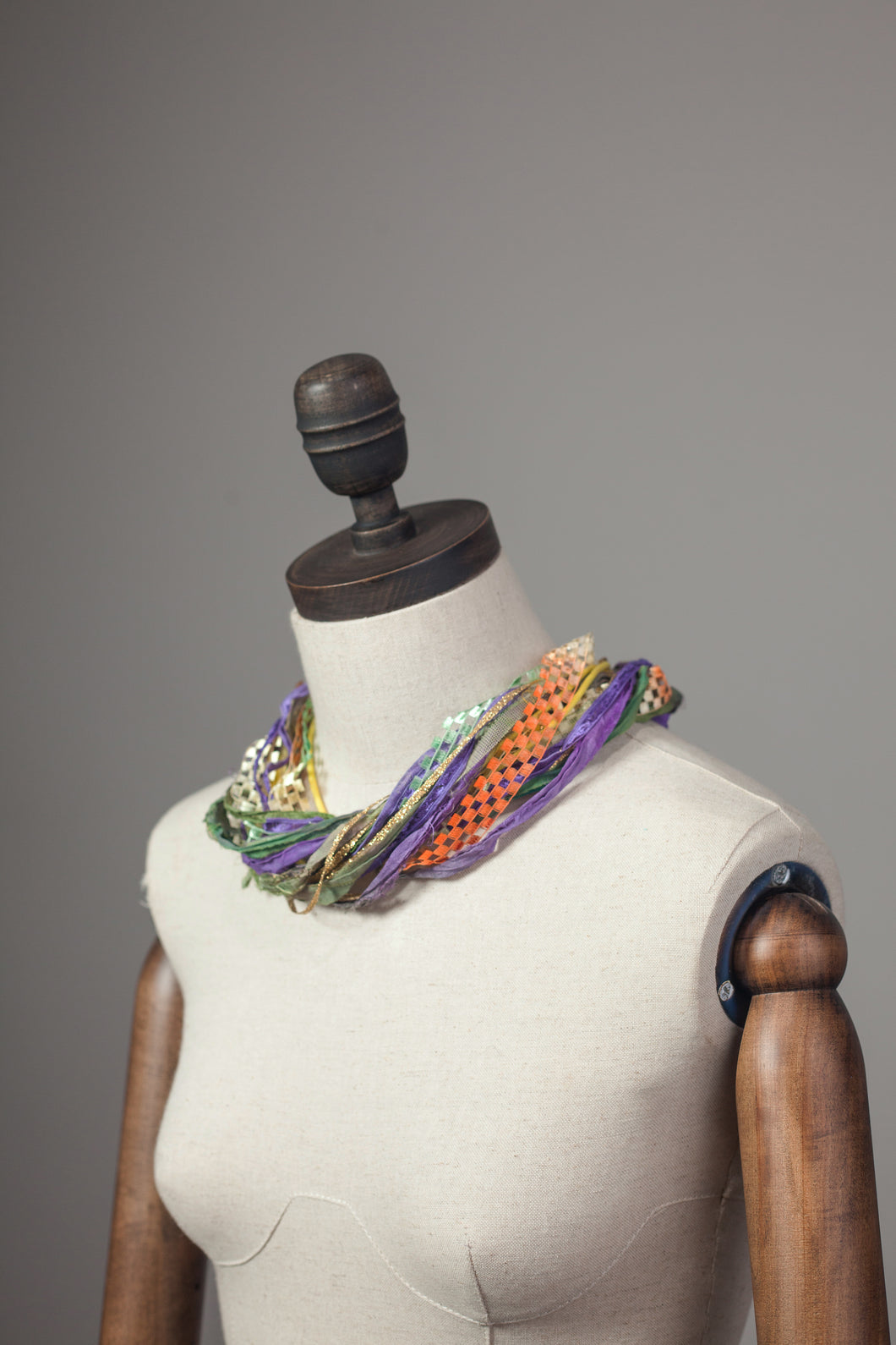 Silk Yarn Necklace in Gold and Purple - Necklace - Megan Crook