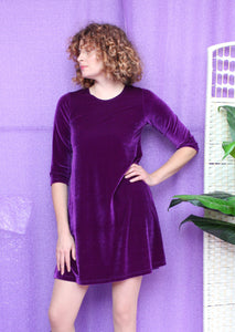 Velvet Swing Dress in Purple