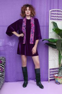 Embellished Velvet Kimono in Royal Purple