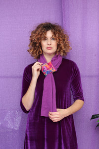 Embellished Pull Through Scarf in Purple