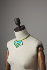 Lime Embellished Necklace w/ Leather - Necklace - Megan Crook
