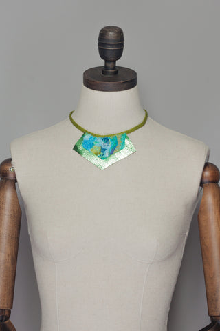 Lime Embellished Necklace w/ Leather