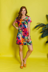 Swing Dress in Watercolour Digital Print Jersey (MCT) - Dress - Megan Crook