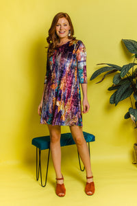 Printed Velvet Swing Dress