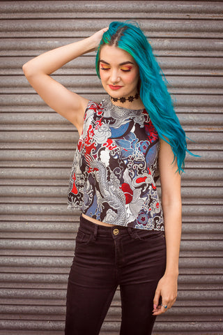 Shell Top in Dragon Print