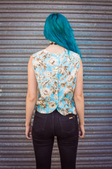 Shell Top in Blue Floral Print -  - Megan Crook