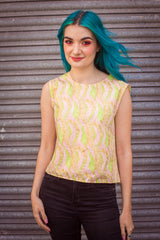 Shell Top in Abstract Print -  - Megan Crook
