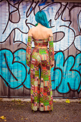 Palazzo Leg Trousers in Tribal Woodcut Print - Trouser - Megan Crook