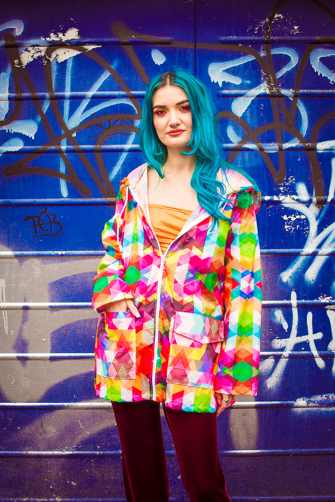 Rain Mac in Kaleidescope Print - Coat - Megan Crook