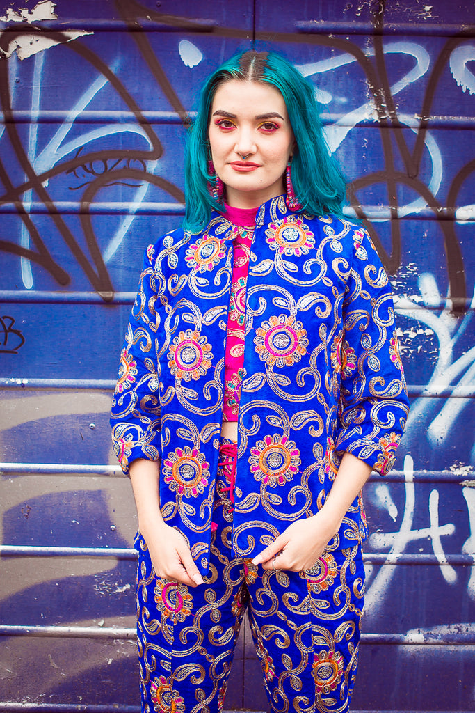 Mandarin Jacket in Blue - Jacket - Megan Crook