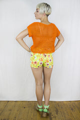 Knitted Mesh Top in Orange - Top - Megan Crook