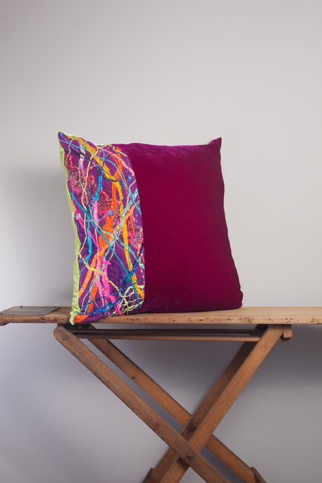 Large Square Embellished Cushion in Magenta and Lime -  - Megan Crook