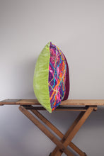 Load image into Gallery viewer, Large Square Embellished Cushion in Magenta and Lime -  - Megan Crook