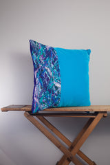 Large Square Embellished Cushion in Paradise Blue and Lapis