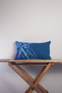 Medium Rectangle Embellished Cushion in Slate Blue -  - Megan Crook