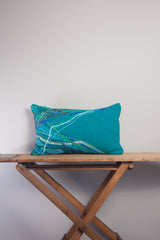 Medium Rectangle Embellished Cushion in Teal -  - Megan Crook