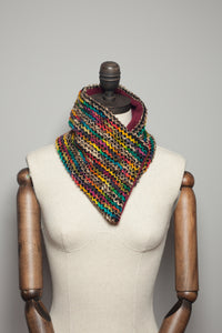 Woven Neck Wrap in Rainbow Stripe - Scarf - Megan Crook