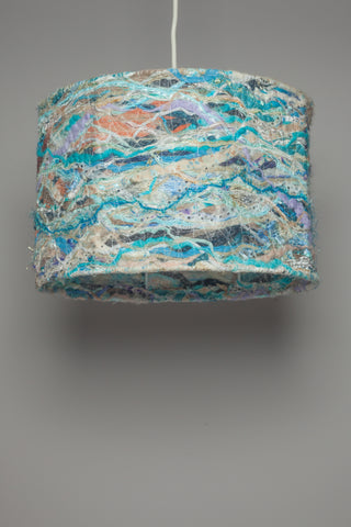 Medium Embellished Lampshade in Beach Blue