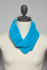 Velvet Cowl and Wrist Warmers Set in Paradise Blue - Accessories - Megan Crook