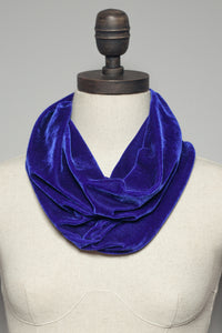 Velvet Cowl and Wrist Warmers Set in Lapis - Accessories - Megan Crook