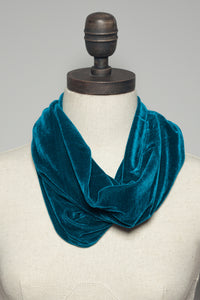 Velvet Cowl and Wrist Warmers Set in Teal - Accessories - Megan Crook