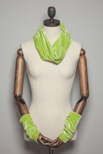 Load image into Gallery viewer, Velvet Cowl and Wrist Warmers Set in Lime - Accessories - Megan Crook