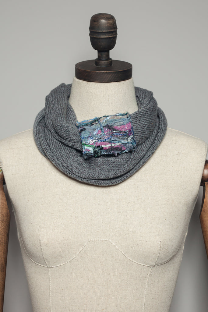 Embellished Cuff Double Wrap Scarf in Grey - Accessories - Megan Crook