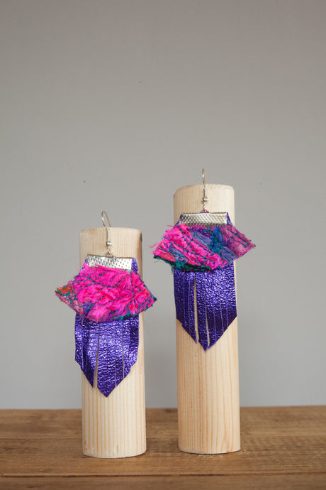 Purple Rectangle Leather Embellished Earrings - Earrings - Megan Crook