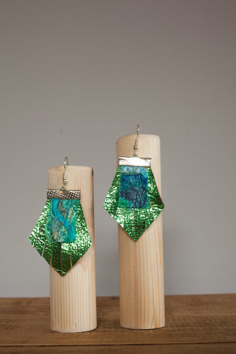 Lime Fan Leather Embellished Earrings - Earrings - Megan Crook
