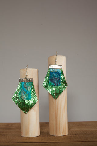 Lime Fan Leather Embellished Earrings