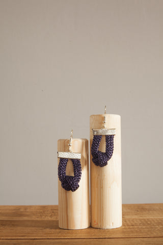 Knot Chain Earrings in Purple