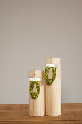 Knot Chain Earrings in Lime