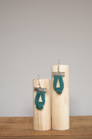 Knot Chain Earrings in Aqua