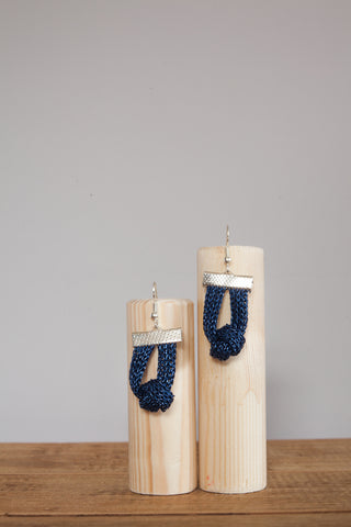Knot Chain Earrings in Blue
