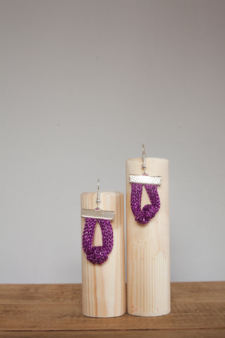 Knot Chain Earrings in Magenta