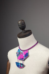 Magenta Embellished Drop Necklace - Necklace - Megan Crook