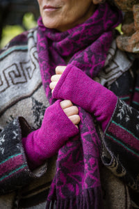 Hand Warmers in Berry Pink Felted Pure New Wool - Mittens - Megan Crook