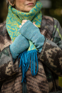 Hand Warmers in Aqua Felted Pure New Wool - Mittens - Megan Crook