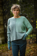 Donegal Colour Block Jumper in Aqua Merino Wool - Jumper - Megan Crook