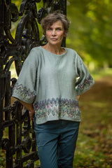 Linen Knit Top in Duck Egg Blue with Sari Silk Detail and Kimono Sleeves - Jumper - Megan Crook