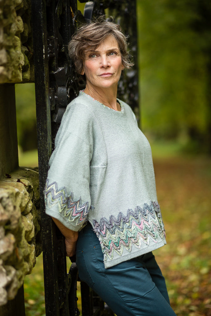 Linen Knit Top in Duck Egg Blue with Sari Silk Detail and Kimono Sleeves
