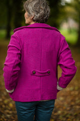 Double Breasted Peacoat in Berry Felted Pure New Wool - Coat - Megan Crook