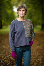Load image into Gallery viewer, Donegal Colour Block Jumper in Aegean Flecked Merino Wool - Jumper - Megan Crook
