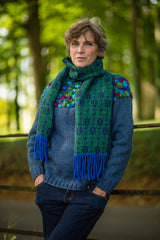 Fair Isle Scarf in Green and Navy Beetle Pattern Felted Pure New Wool with Fringing - Scarf - Megan Crook