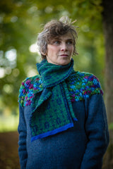 Fair Isle Scarf in Green and Navy Beetle Pattern Felted Pure New Wool - Scarf - Megan Crook