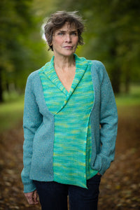 Cross Front Jumper in Aqua Pure New Wool and Handpainted Cotton - Jumper - Megan Crook